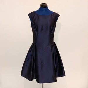 Eliza J. Navy Cap Sleeve Fit and Flare Dress
